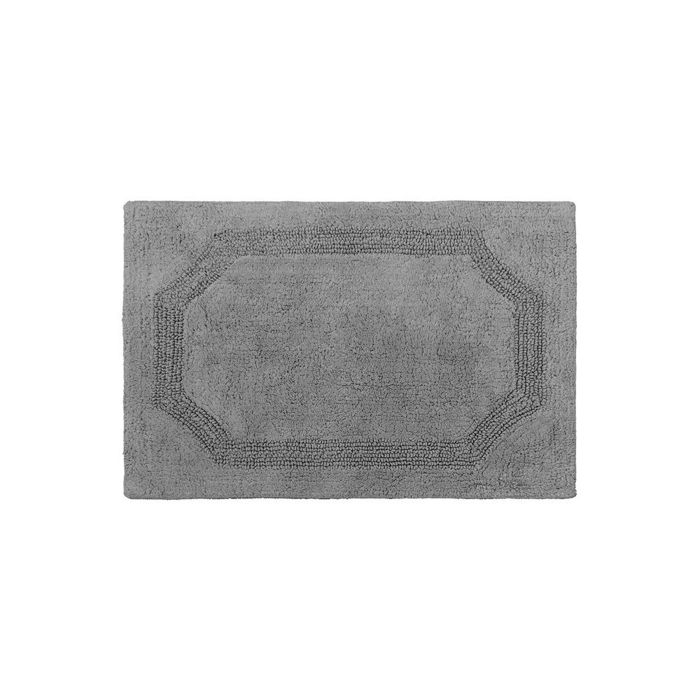 Reversible Charcoal 17 in. x 24 in. Cotton Bath Mat