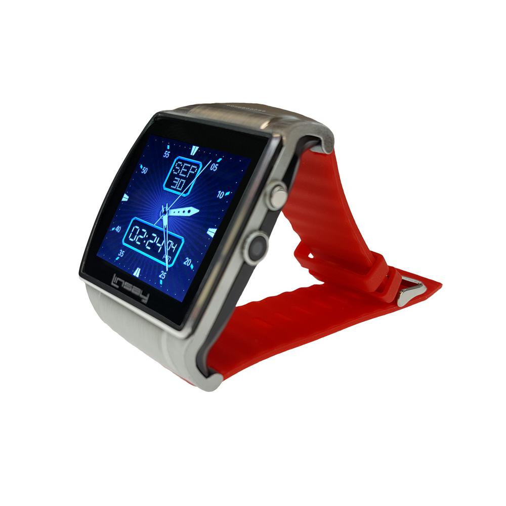 LINSAY Executive EX5LR Smart Watch Red with Camera and Micro SD Card Slot up to 64GB