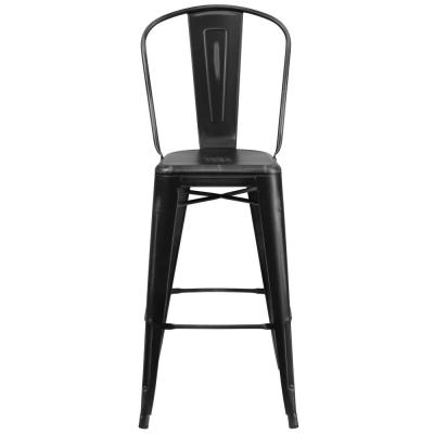 30 in. Distressed Black Bar Stool