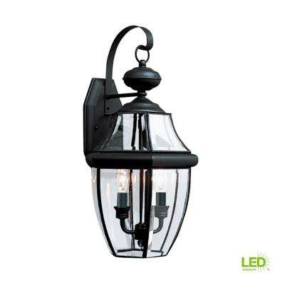 Lancaster 2-Light Black Outdoor 20.5 in. Wall Mount Lantern with Dimmable Candelabra LED Bulb