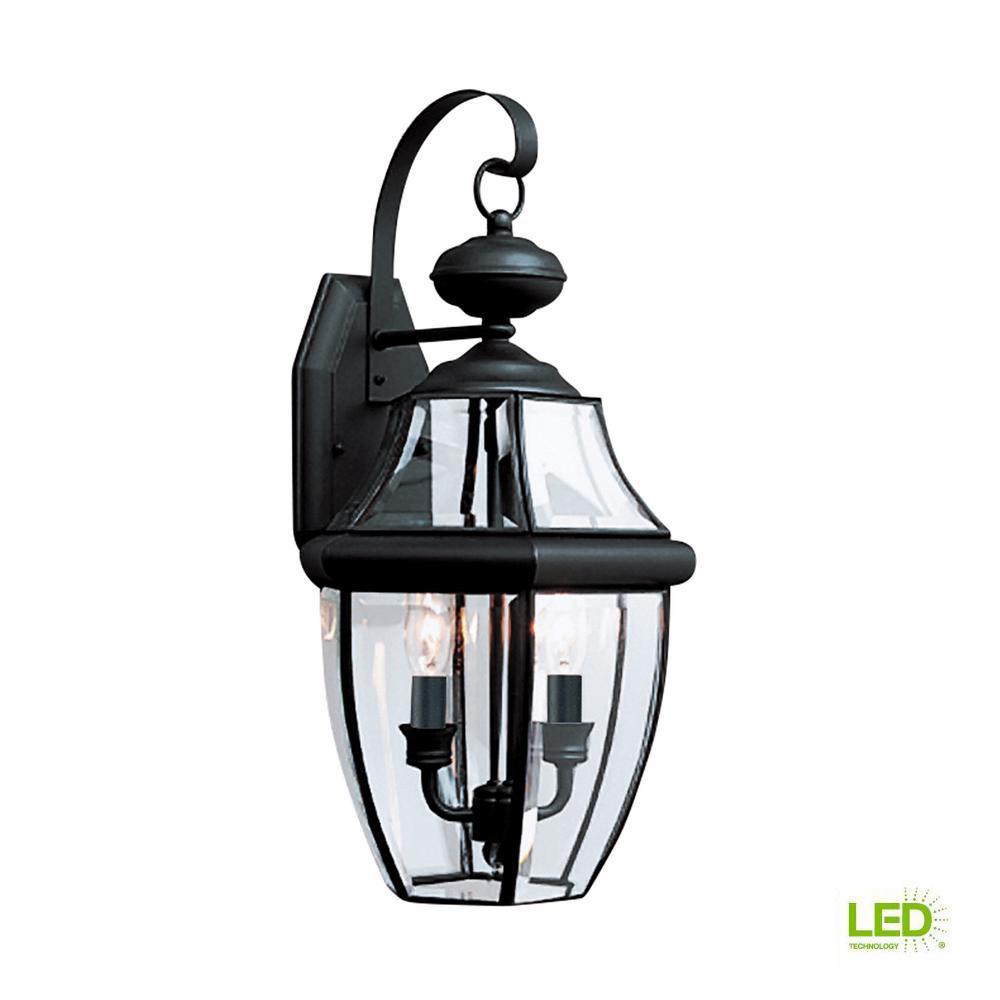 """Set of 2 Lanterns Matte Black Indoor//Outdoor 14/"""" Hurricane Lanterns with Dimmer Switch"""