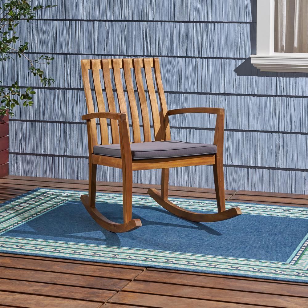Colmena Teak Brown Acacia Wood Outdoor Rocking Chair with Dark Grey Cushion