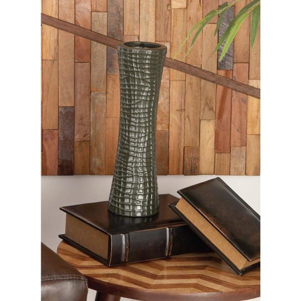 Litton Lane 13 in. Semi-Hourglass Ceramic Decorative Vases in Black, White