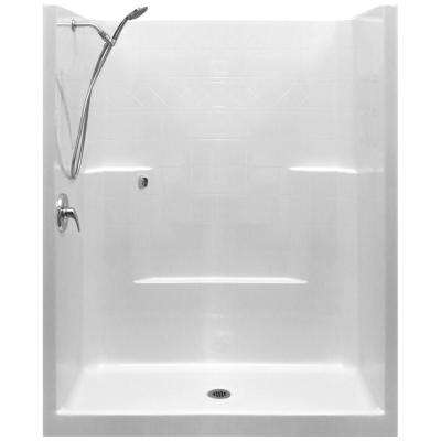 Standard-SA 33 in. x 60 in. x 77 in. 1-Piece Low Threshold Shower Stall in White with LHS Shower Kit and Center Drain