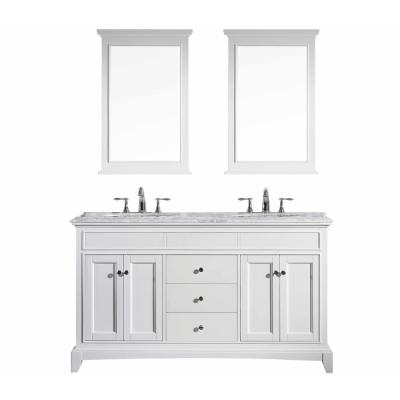 Elite Stamford 60 in. W x 23.5 in. D x 36 in. H Vanity in White with Carrera Marble Top in White with White Basin
