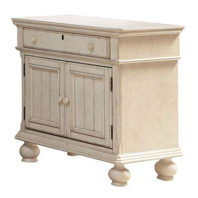Newport 1-Drawer Antique White Birch Cabinet Nightstand