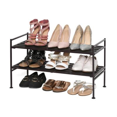 15.4 in H x 26.2 in W 6-Pair Iron Espresso Resin Slat Stackable Shoe Rack