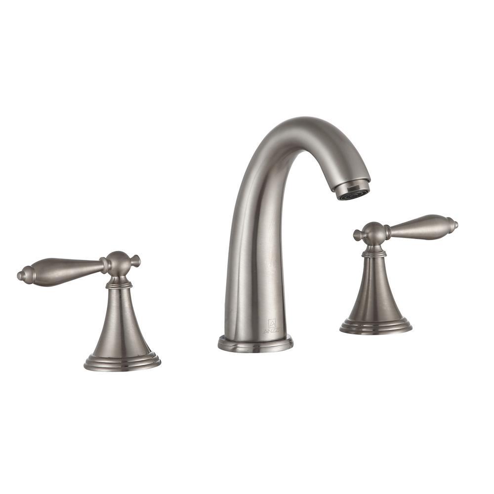 Queen 8 in. Widespread 2-Handle Bathroom Faucet in Brushed Nickel