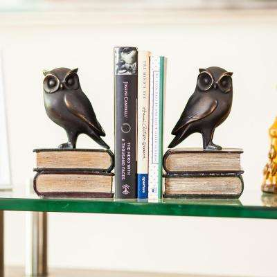 Savvy Bronze Patina Owl on Books Bookends (Set of 2)