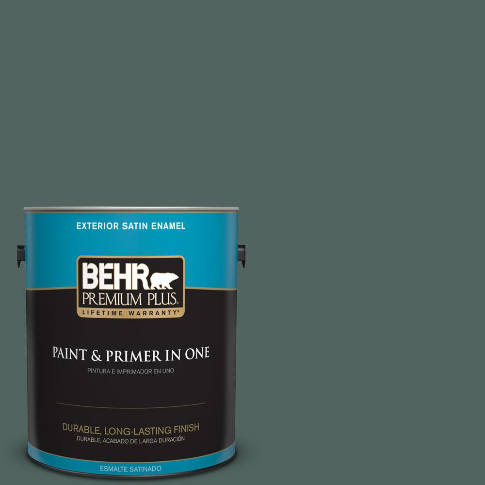 BEHR Premium Plus 1-gal. #S430-7 Blue Fir Satin Enamel Exterior Paint