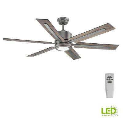 Glandon 60 in. Indoor LED Antique Nickel Ceiling Fan with Light Kit and Remote