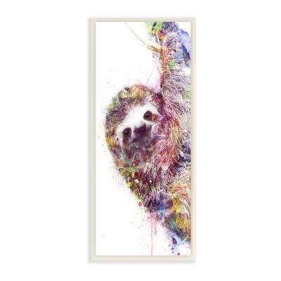 "7 in. x 17 in. ""Minimal Sloth Painterly Watercolor Abstract "" by Artist VeeBee Wood Wall Art"