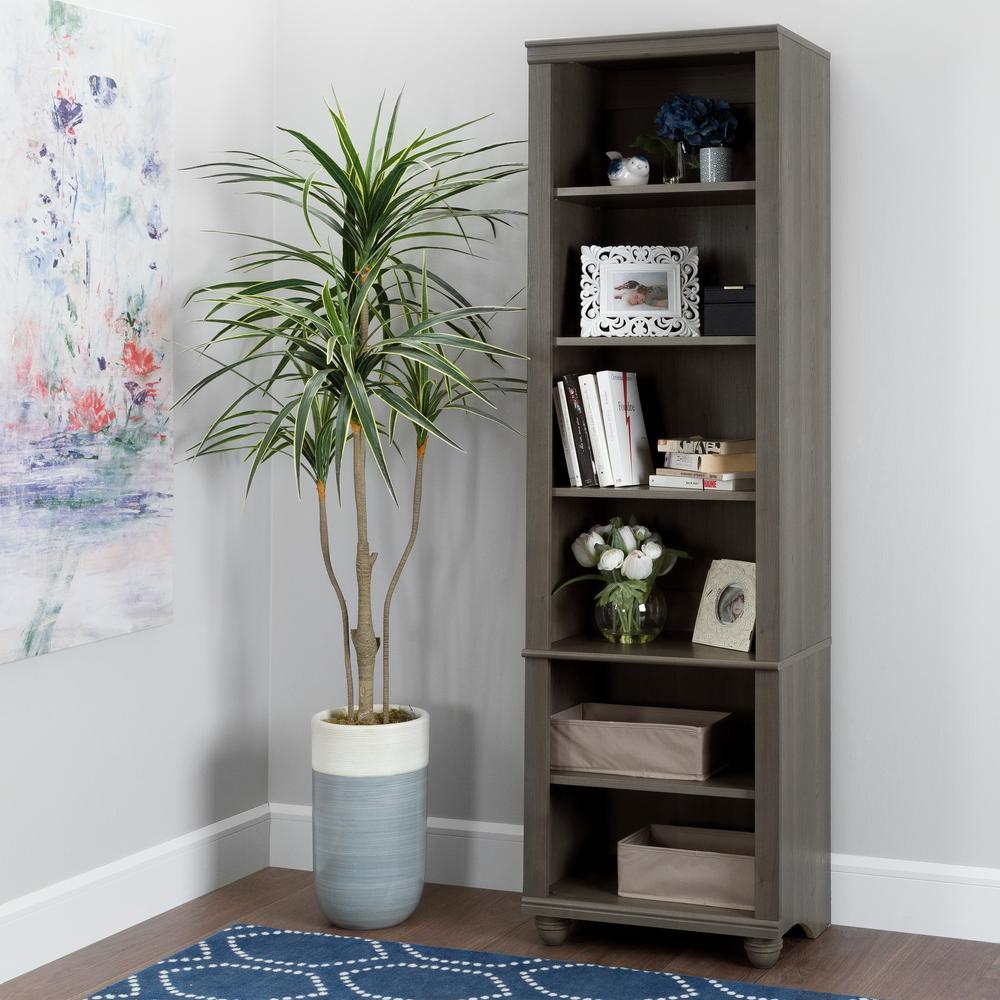 Hopedale Gray Maple 6-Shelf Bookcase