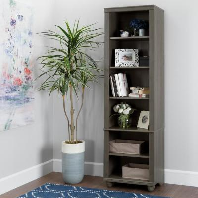 71.25 in. Gray Maple Faux Wood 6-shelf Standard Bookcase with Adjustable Shelves