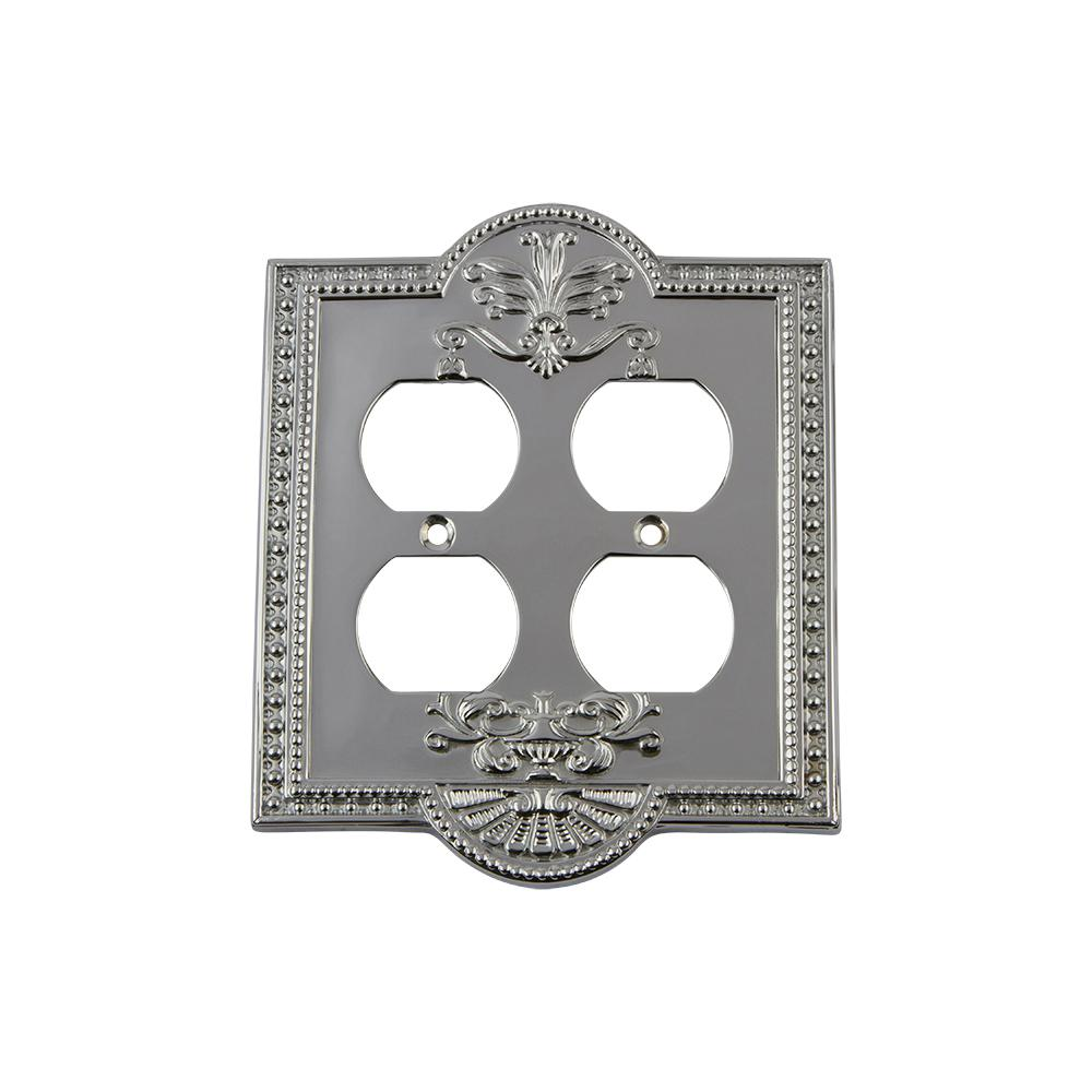Meadows Switch Plate with Double Outlet in Bright Chrome