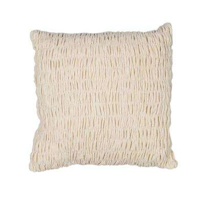 Multi Texture Ivory Decorative Pillow