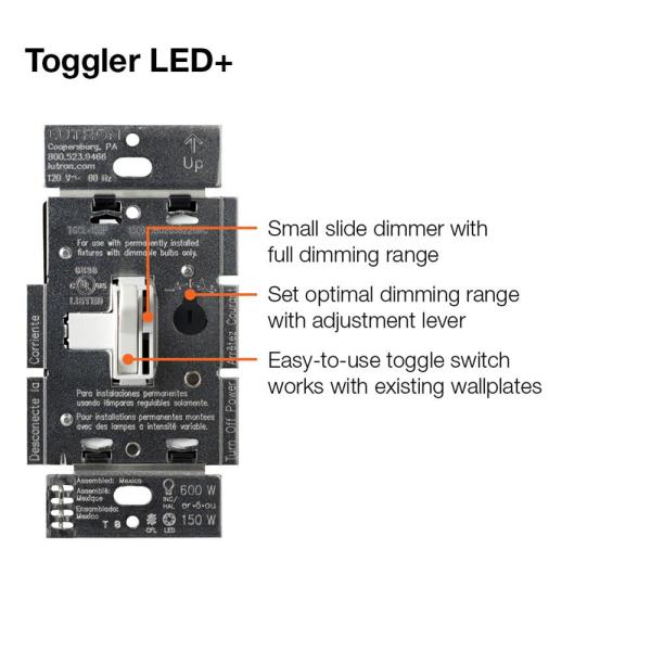 Lutron Toggler Led Dimmer Switch For Dimmable Led Halogen And Incandescent Bulbs Single Pole Or 3 Way White Tgcl 153ph Wh The Home Depot