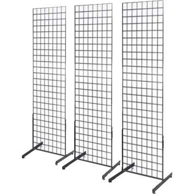 72 in. H x 24 in. W Black Gridwall/Pegboard Panel Tower with T-Base Floorstanding Display Kit (3-Pack)