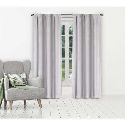 Marcella Silver Linen Look Blackout Pole Top Panel Pair - 38 in. W x 84 in. L in (2-Piece)