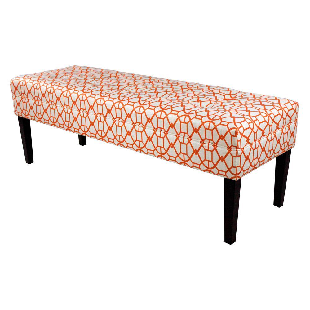 Kaya Noah Sunset Button Tufted Upholstered Bench