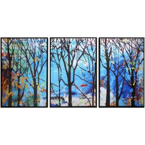 30 In X 20 Enchanted Forest Hand Painted Framed Canvas Wall Art