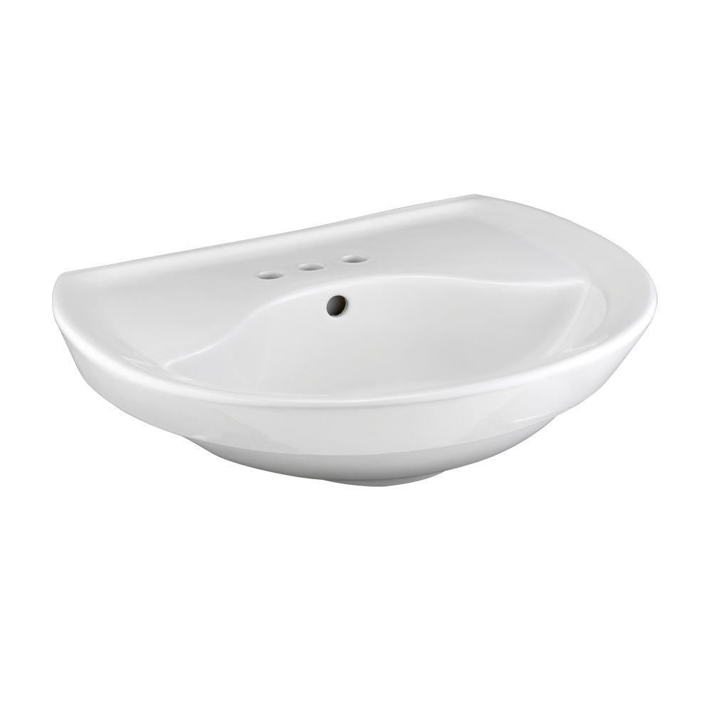 American Standard Ravenna Pedestal Sink Basin With 4 In Faucet Centers In White 0268 004 020 The Home Depot