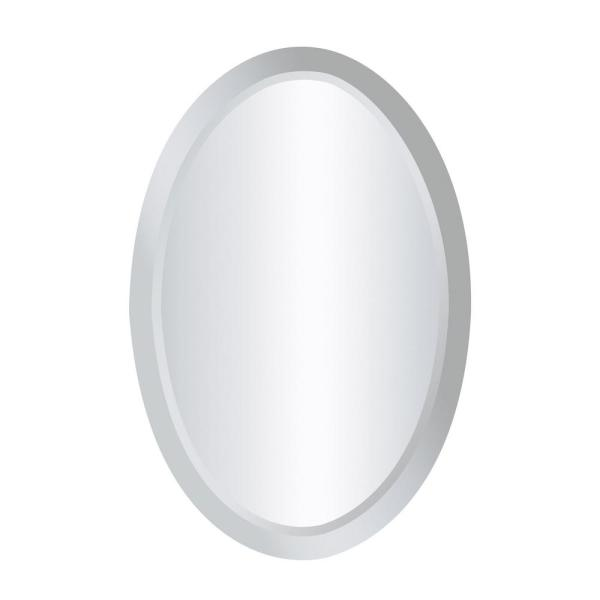 Medium Oval Clear Contemporary Mirror (24 in. H x 16 in. W)