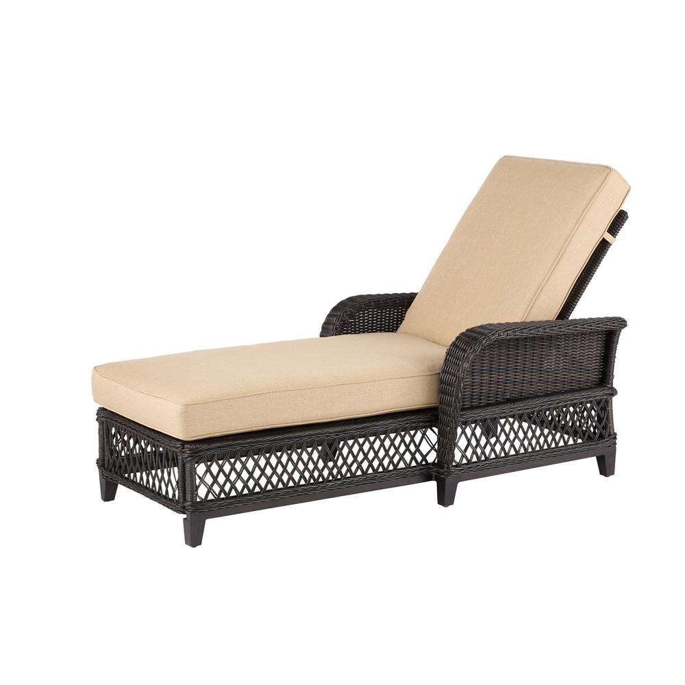 Hampton Bay Woodbury Wicker Outdoor Chaise Lounge With Wheat Cushion