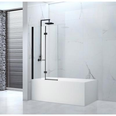 Tidy 39 in. x 55 in. Semi-Frameless Hinged Bathtub Door in Black without Handle