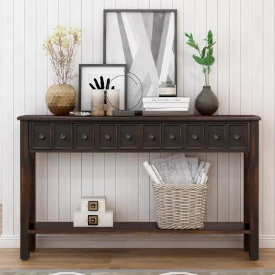 Black Elvira Console Table with Drawers and Bottom Shelf