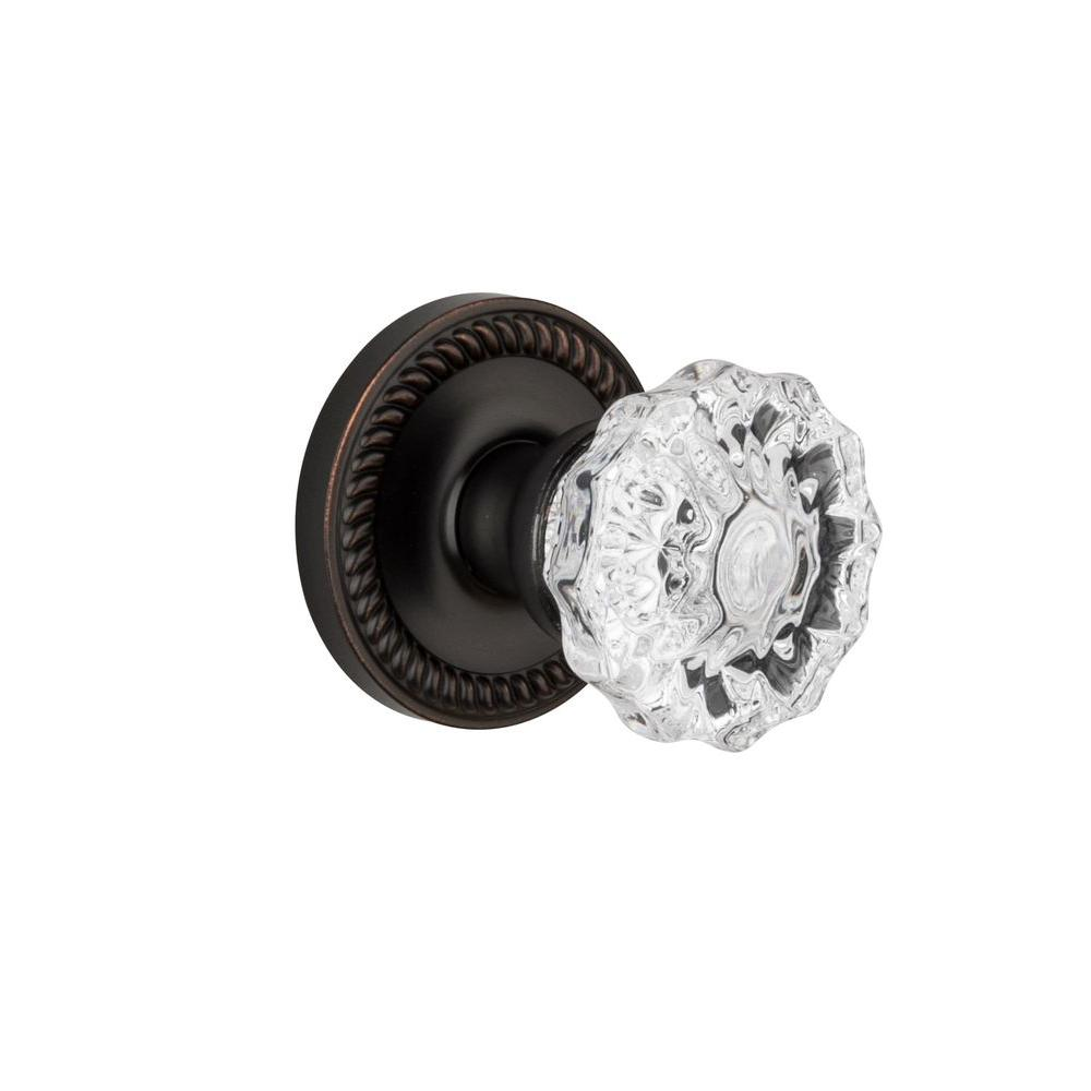 Grandeur Newport Rosette Timeless Bronze with Privacy Versailles Crystal Knob