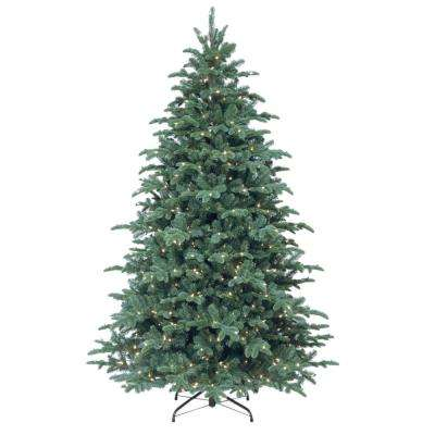 7-1/2 ft. Feel Real Mountain Noble Blue Spruce Hinged Artificial Christmas Tree with 750 Clear Lights