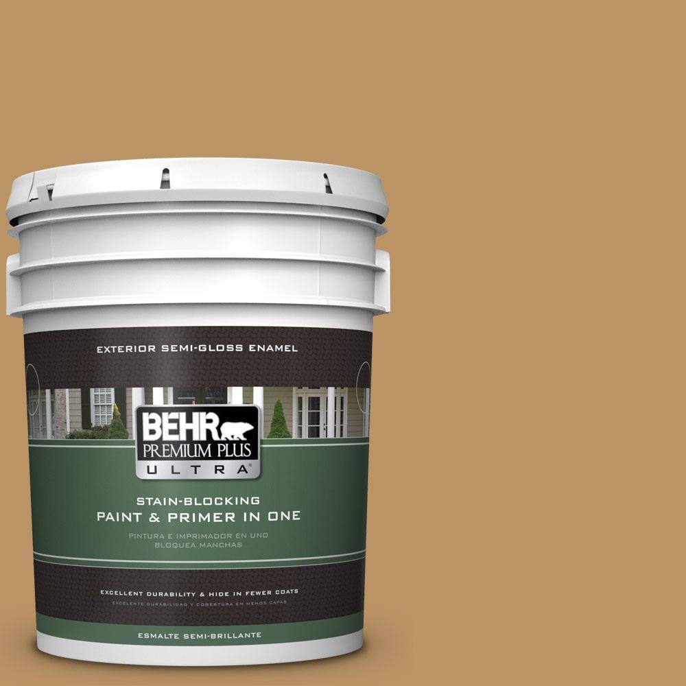 BEHR Premium Plus Ultra 5-gal. #S300-5 Spiced Mustard Semi-Gloss Enamel Exterior Paint