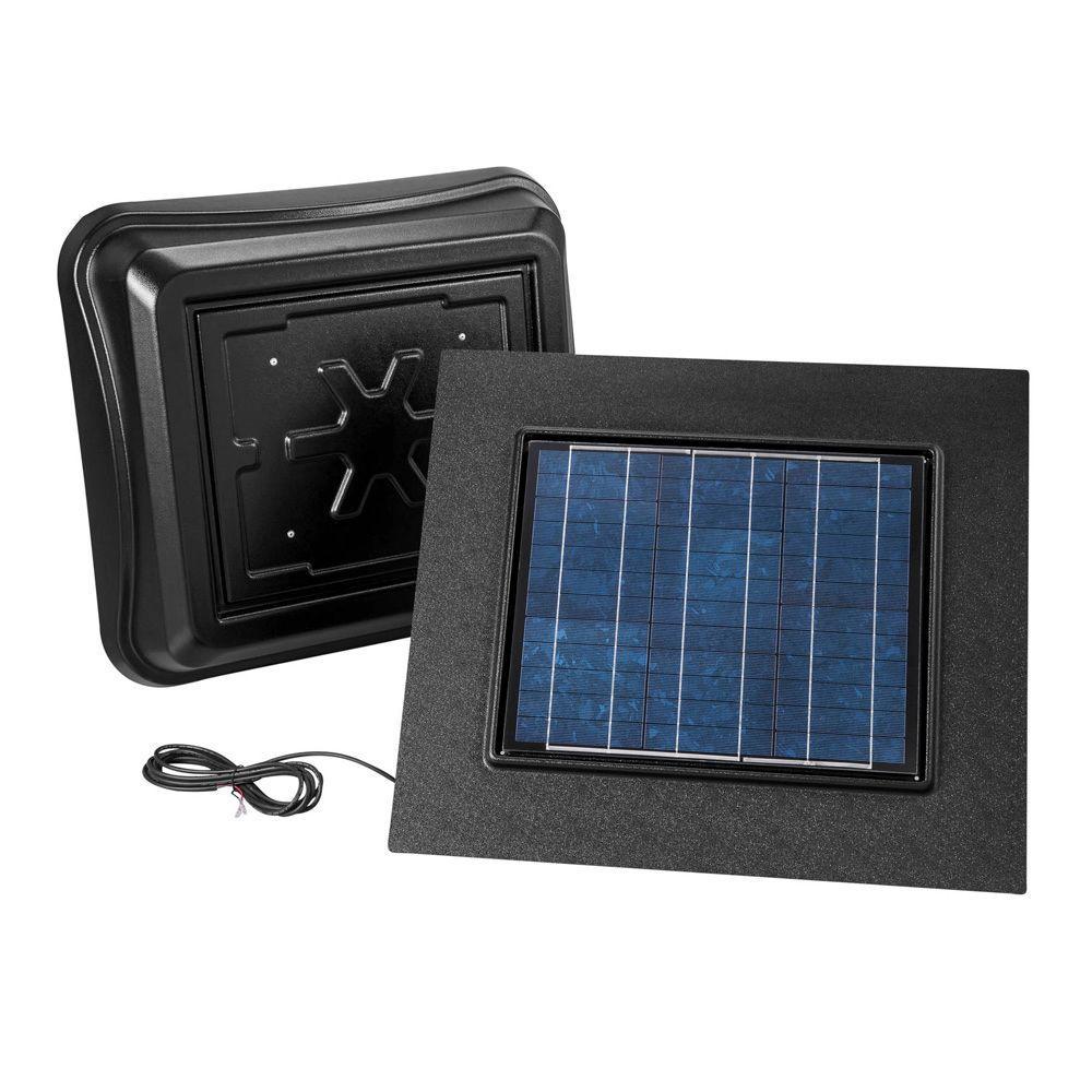 28 Watt Solar-Powered Black Remote Mount Attic Vent