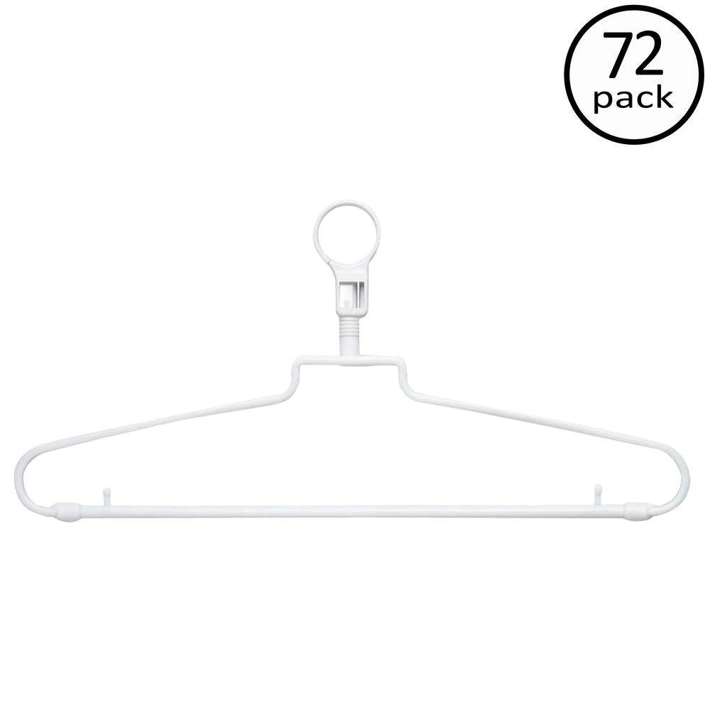 White Hotel Style Hangers with Security Loop (72-Pack)