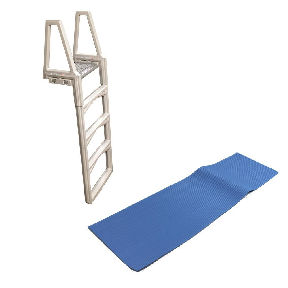 Confer Plastics 48 in. to 56 in. Adjustable Ladder for In-Pool Above Ground  Swimming Pool with Mat