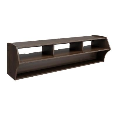 Altus 58 in. Espresso Composite Floating Entertainment Center Fits TVs Up to 60 in. with Hanging Rail System