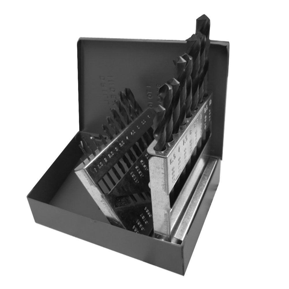 Premium Industrial Grade High Speed Steel Black Oxide Metric Drill Bit Set (19-Piece)