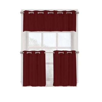 Semi-Opaque Paprika Montego Grommet Kitchen Curtain Tiers, 56 in. W x 24 in. L