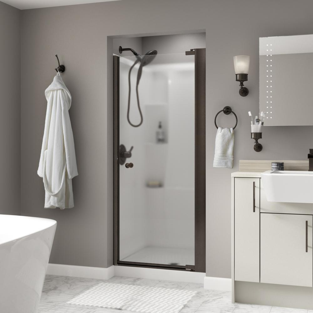 Silverton 36 in. x 64-3/4 in. Semi-Frameless Pivot Shower Door in