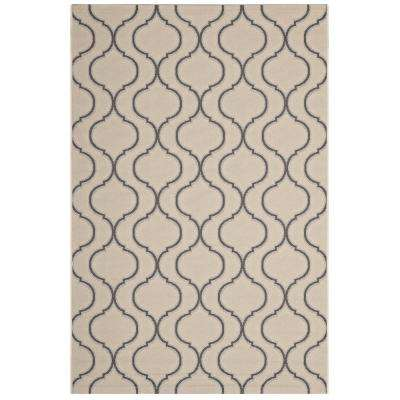 Linza Wave Abstract Trellis 5 ft. x 8 ft. Indoor and Outdoor Area Rug in Beige and Gray