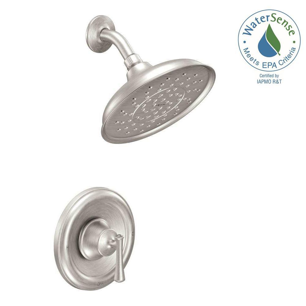 Moen Brushed Nickel Shower Faucet.Moen Ashville Single Handle 1 Spray Shower Faucet With Valve In Spot Resist Brushed Nickel Valve Included