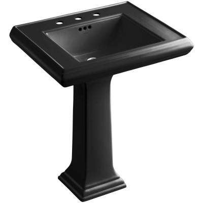 Memoirs Ceramic Pedestal Bathroom Sink in Black Black with Overflow Drain
