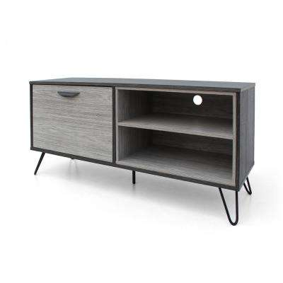 Two-Tone Brown TV Console with 1 Drawer and 2 Shelves