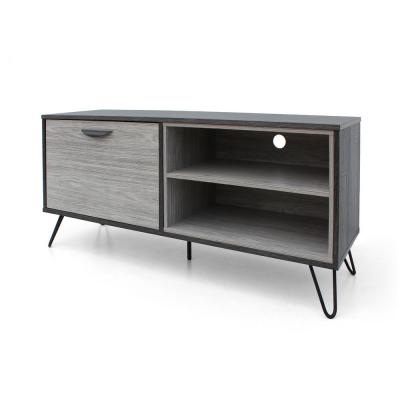 47 in. Grey Oak Wood TV Console Fits TVs Up to 44 in. with Storage Doors