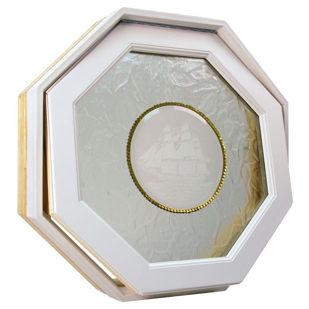 Century Poly Clad Venting Octagon Windows, 24 in. x 24 in., White, Rough Opening Insulated Carved Ship Glass Screen-DISCONTINUED