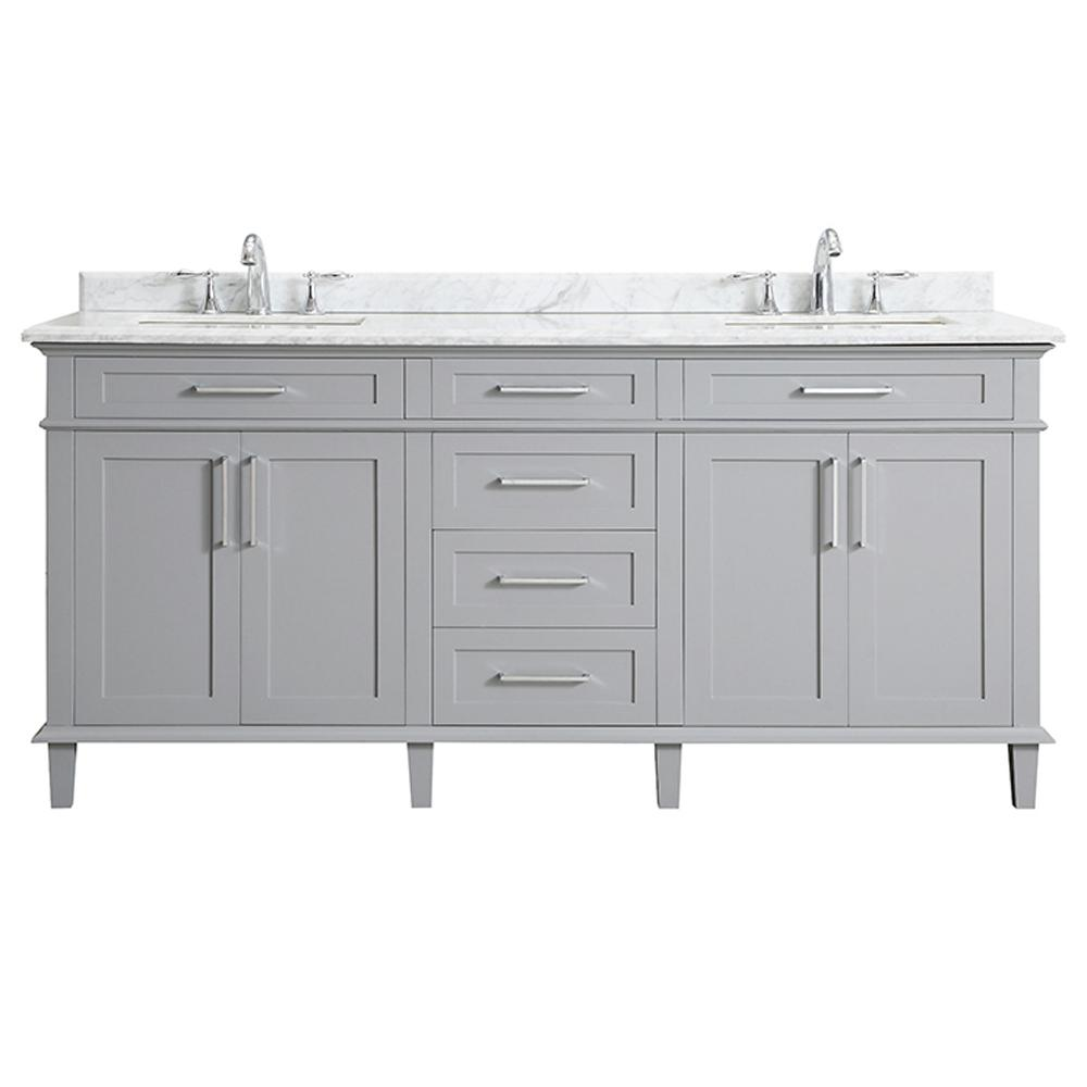 Home Decorators Collection Sonoma 72 In W X 22 In D Bath Vanity In Pebble Gray With Carrara Marble Top With White Sinks