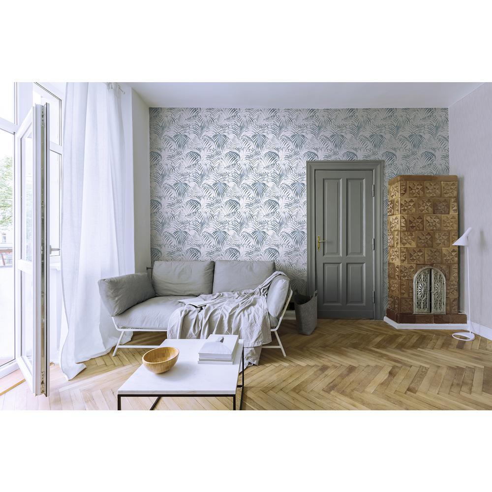 Raja Blue Palm Wallpaper Sample