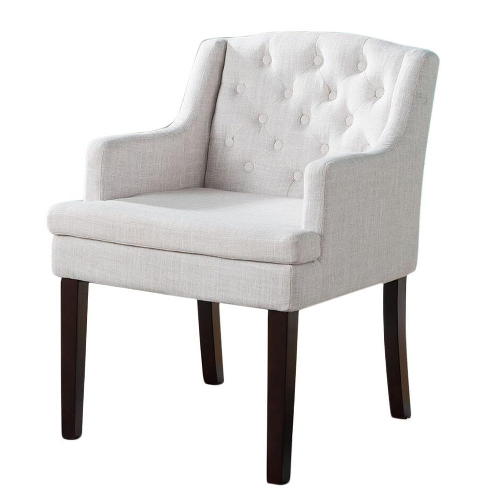 Cream/Cherry Fabric Tufted Back Arm Chair