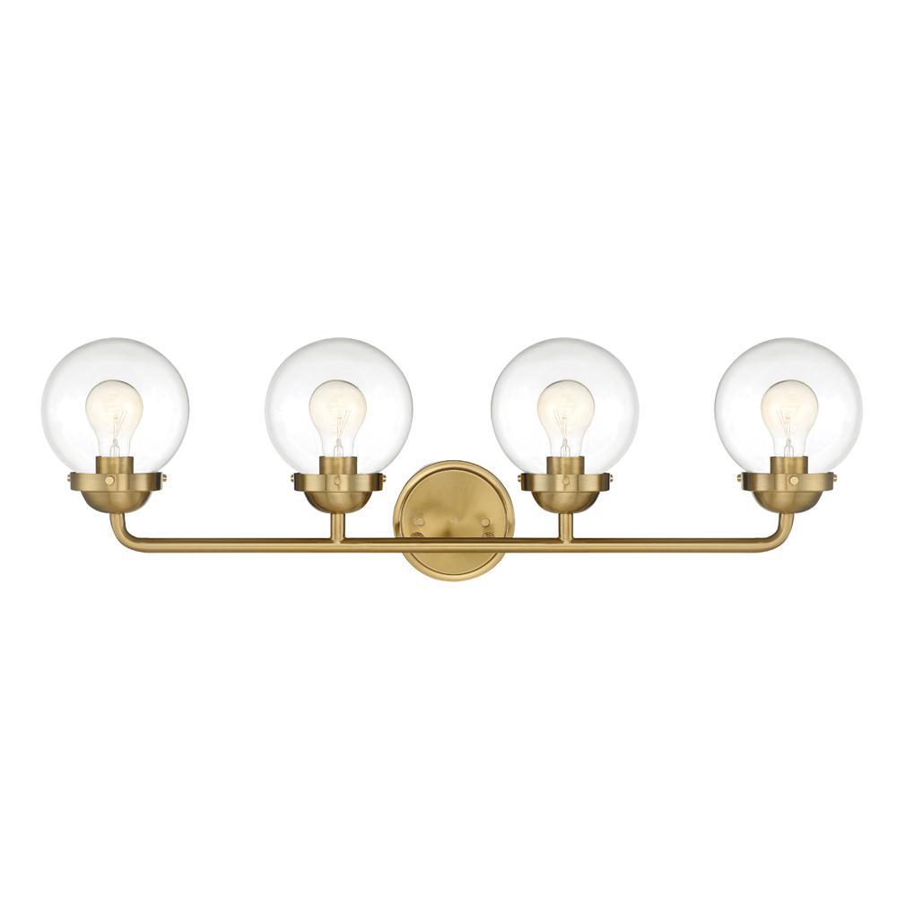 Knoll 4-Light Brushed Gold Bath Bar Vanity Light